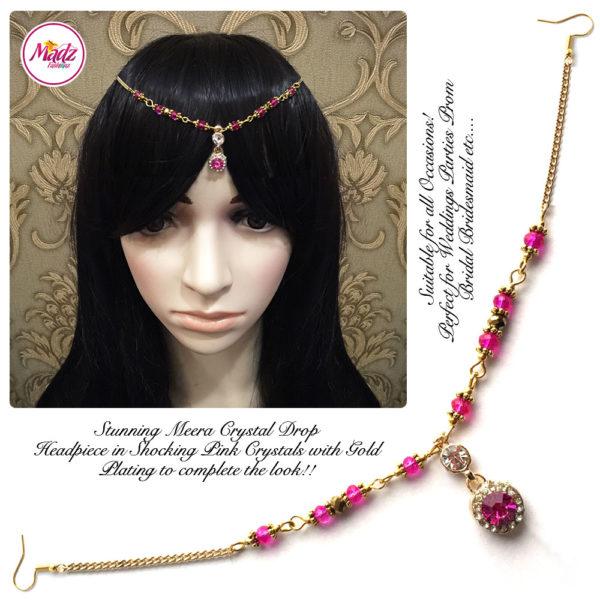 Madz Fashionz UK: Meera Crystal Matha Patti Headpiece Gold Shocking Pink
