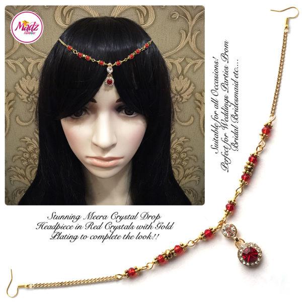 Madz Fashionz UK: Meera Crystal Matha Patti Headpiece Gold Red