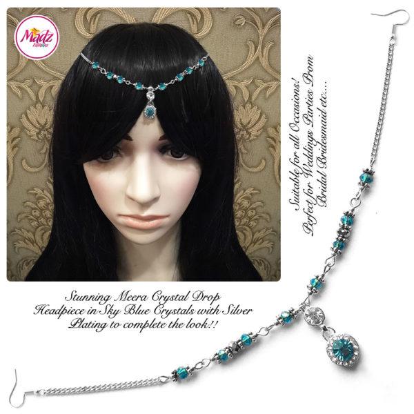 Madz Fashionz UK: Meera Crystal Matha Patti Headpiece Silver Sky Blue