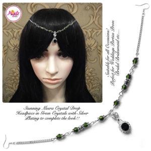 Madz Fashionz UK: Meera Crystal Matha Patti Headpiece Silver Green