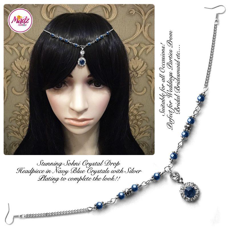 Madz Fashionz UK: Sohni Crystal Matha Patti Headpiece Silver Navy Blue