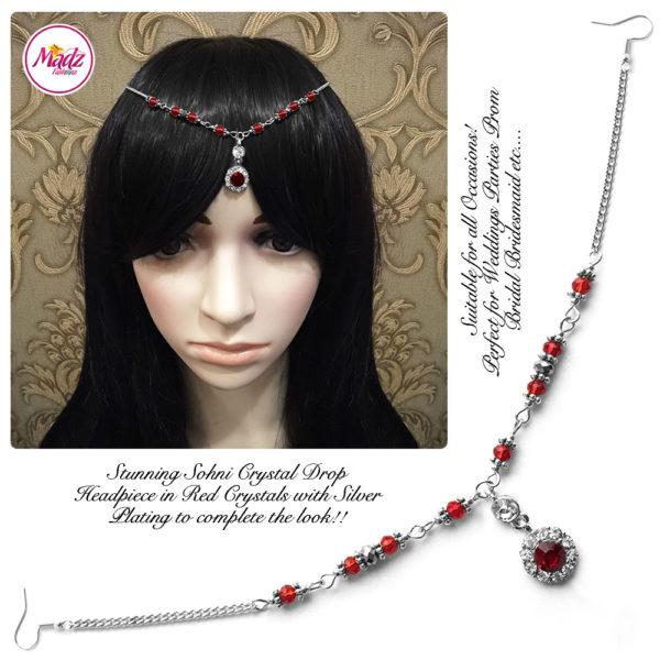 Madz Fashionz UK: Sohni Crystal Matha Patti Headpiece Silver Red