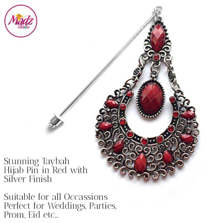 Madz Fashionz UK: Taybah Hijab Pin Hijab Jewels Stick Pins Silver Red