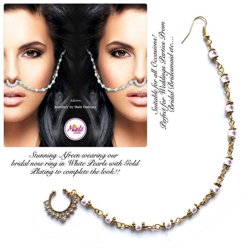 Madz Fashionz UK: Yasmine Alom Pearl Nose Ring Nath Indian Bullaku Nathu Gold Pearl White