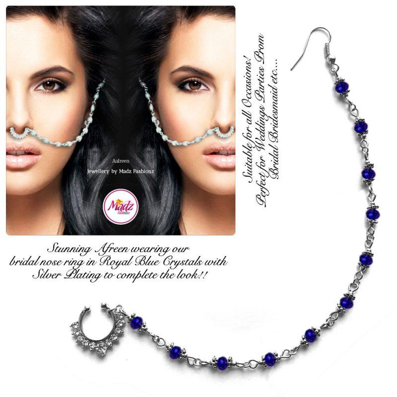 Madz Fashionz UK: Yasmine Alom Pearl Nose Ring Nath Indian Bullaku Nathu Silver Royal Blue