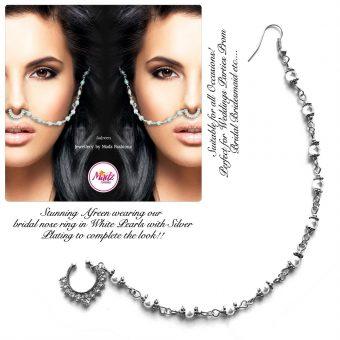 Madz Fashionz UK: Yasmine Alom Pearl Nose Ring Nath Indian Bullaku Nathu Silver Pearl White