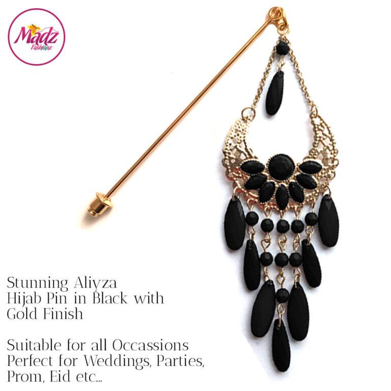 Madz Fashionz UK: Aliyzah Hijab Pin Hijab Jewels Stick Pins Gold Black
