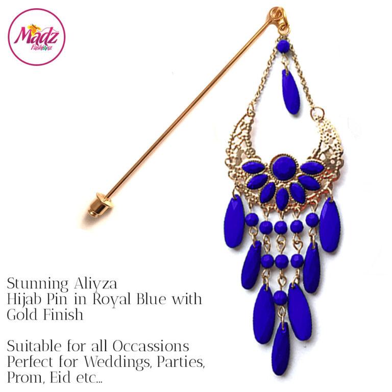 Madz Fashionz UK: Aliyzah Hijab Pin Hijab Jewels Stick Pins Gold Royal Blue