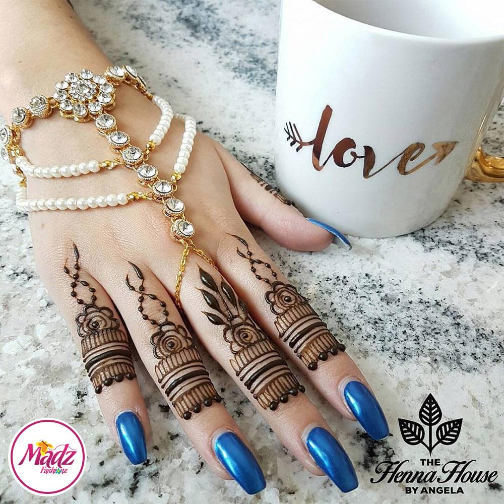 Madz Fashionz UK: Hennabyang Angela Traditional Kundan Pearled Hand chain Slave Bracelet Gold white bridal
