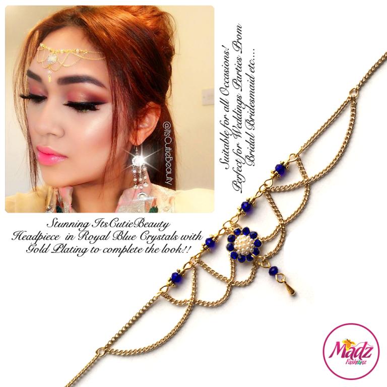 Madz Fashionz UK: Itscutiebeauty Bespoke Matha Patti Headpiece Gold Royal Blue