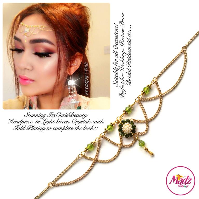 Madz Fashionz UK: Itscutiebeauty Bespoke Matha Patti Headpiece Gold Light Green