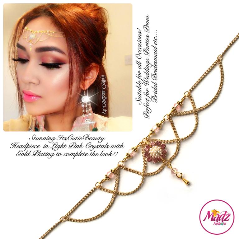 Madz Fashionz UK: Itscutiebeauty Bespoke Matha Patti Headpiece Gold Light Pink
