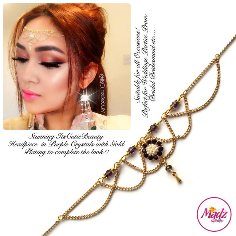 Madz Fashionz UK: Itscutiebeauty Bespoke Matha Patti Headpiece Gold Purple