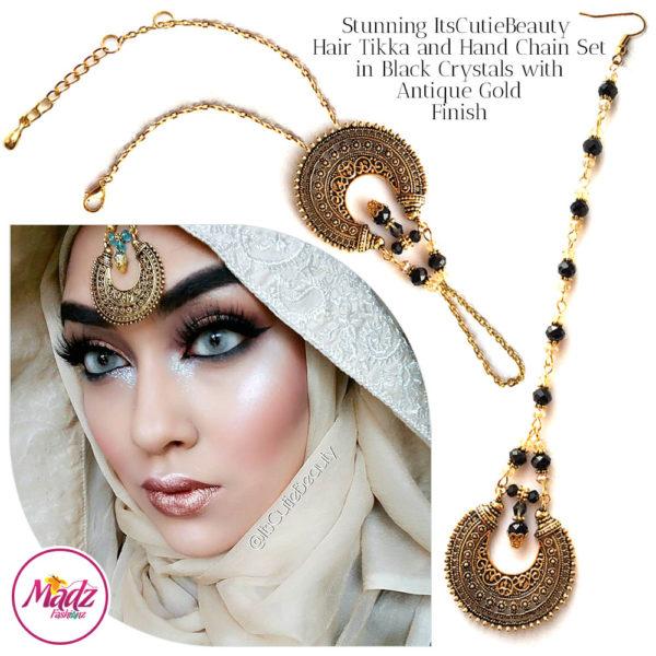 Madz Fashionz UK: ItsCutieBeauty Kundan Tikka Headpiece Handchain Chand Maang Tikka Antique Gold Black Set