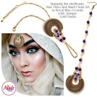 Madz Fashionz UK: ItsCutieBeauty Kundan Tikka Headpiece Handchain Chand Maang Tikka Antique Gold Royal Blue Set