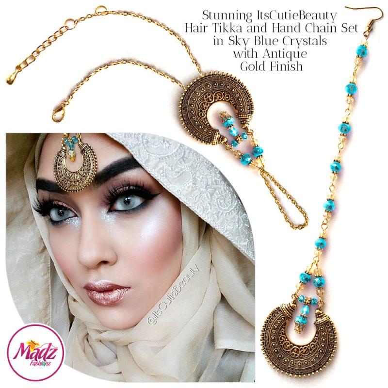 Madz Fashionz UK: ItsCutieBeauty Kundan Tikka Headpiece Handchain Chand Maang Tikka Antique Gold Sky Blue Set