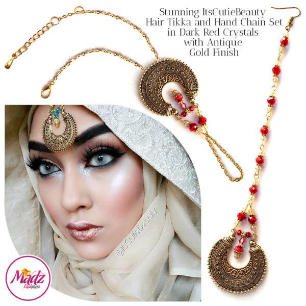 Madz Fashionz UK: ItsCutieBeauty Kundan Tikka Headpiece Handchain Chand Maang Tikka Antique Gold Red Set