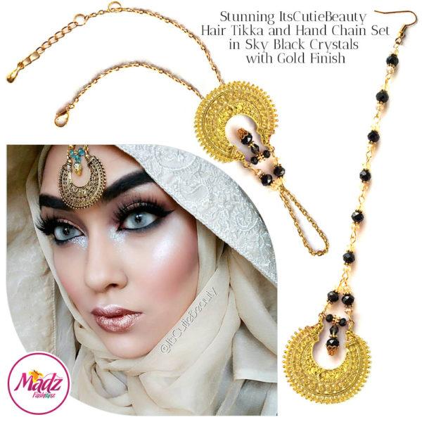 Madz Fashionz UK: ItsCutieBeauty Kundan Tikka Headpiece Handchain Chand Maang Tikka Gold Black Set