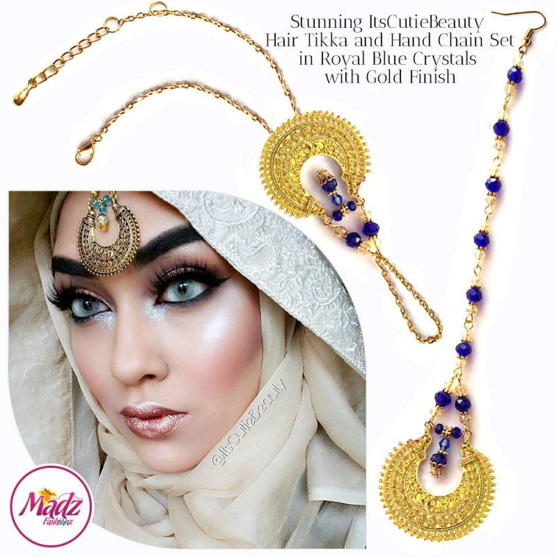Madz Fashionz UK: ItsCutieBeauty Kundan Tikka Headpiece Handchain Chand Maang Tikka Gold Royal Blue Set