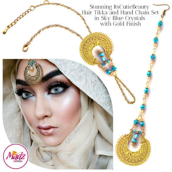 Madz Fashionz UK: ItsCutieBeauty Kundan Tikka Headpiece Handchain Chand Maang Tikka Gold Sky Blue Set