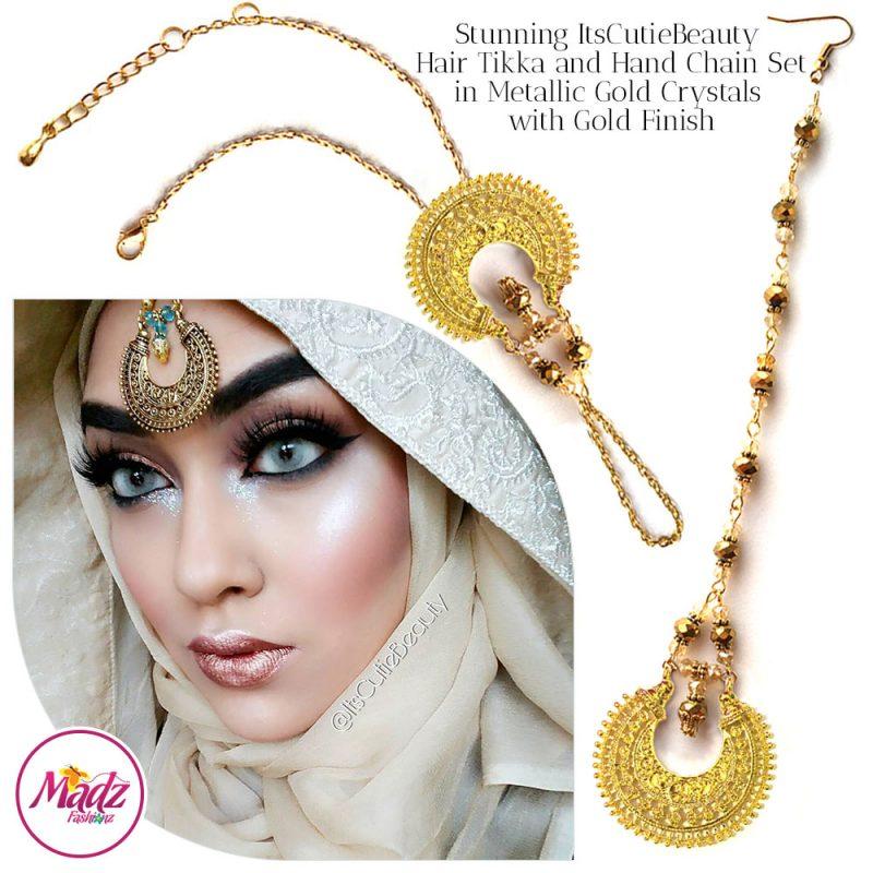 Madz Fashionz UK: ItsCutieBeauty Kundan Tikka Headpiece Handchain Chand Maang Tikka Gold Metallic Neutral Set