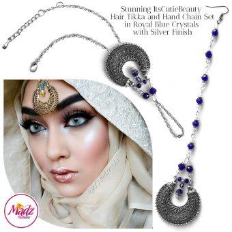 Madz Fashionz UK: ItsCutieBeauty Kundan Tikka Headpiece Handchain Chand Maang Tikka Silver Royal Blue Set