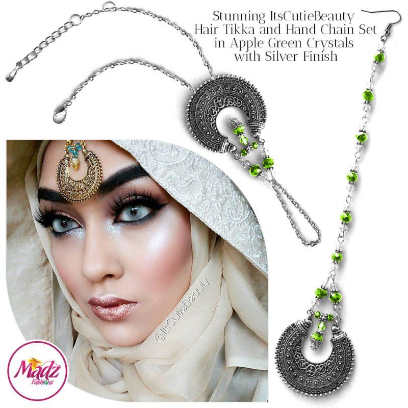 Madz Fashionz UK: ItsCutieBeauty Kundan Tikka Headpiece Handchain Chand Maang Tikka Silver Apple Green Set
