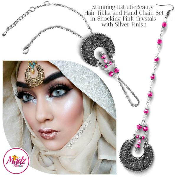 Madz Fashionz UK: ItsCutieBeauty Kundan Tikka Headpiece Handchain Chand Maang Tikka Silver Shocking Pink Set