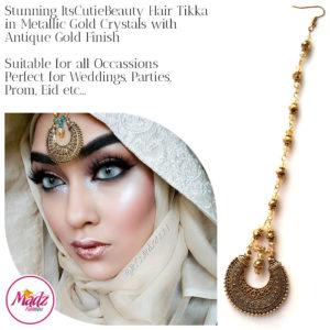 Madz Fashionz UK: ItsCutieBeauty Kundan Tikka Headpiece Headchain Maang Tikka Antique Gold Metallic