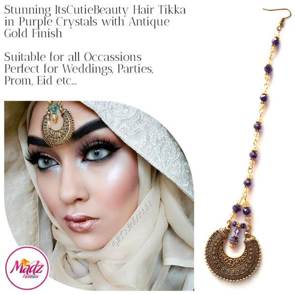 Madz Fashionz UK: ItsCutieBeauty Kundan Tikka Headpiece Headchain Maang Tikka Antique Gold Purple