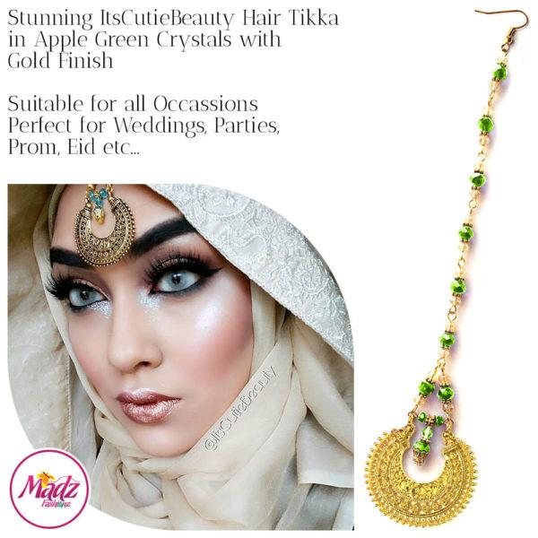 Madz Fashionz UK: ItsCutieBeauty Kundan Tikka Headpiece Headchain Maang Tikka Gold Apple Green