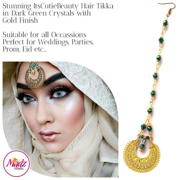 Madz Fashionz UK: ItsCutieBeauty Kundan Tikka Headpiece Headchain Maang Tikka Gold Dark Green