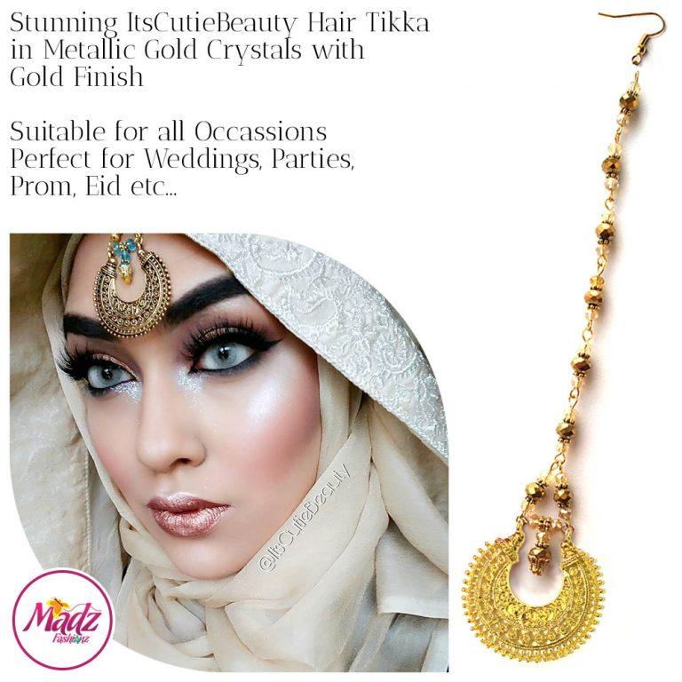 Madz Fashionz UK: ItsCutieBeauty Kundan Tikka Headpiece Headchain Maang Tikka Gold Metallic