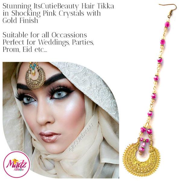 Madz Fashionz UK: ItsCutieBeauty Kundan Tikka Headpiece Headchain Maang Tikka Gold Shocking Pink