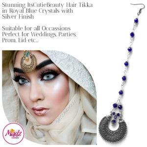 Madz Fashionz UK: ItsCutieBeauty Kundan Tikka Headpiece Headchain Maang Tikka Silver Royal Blue