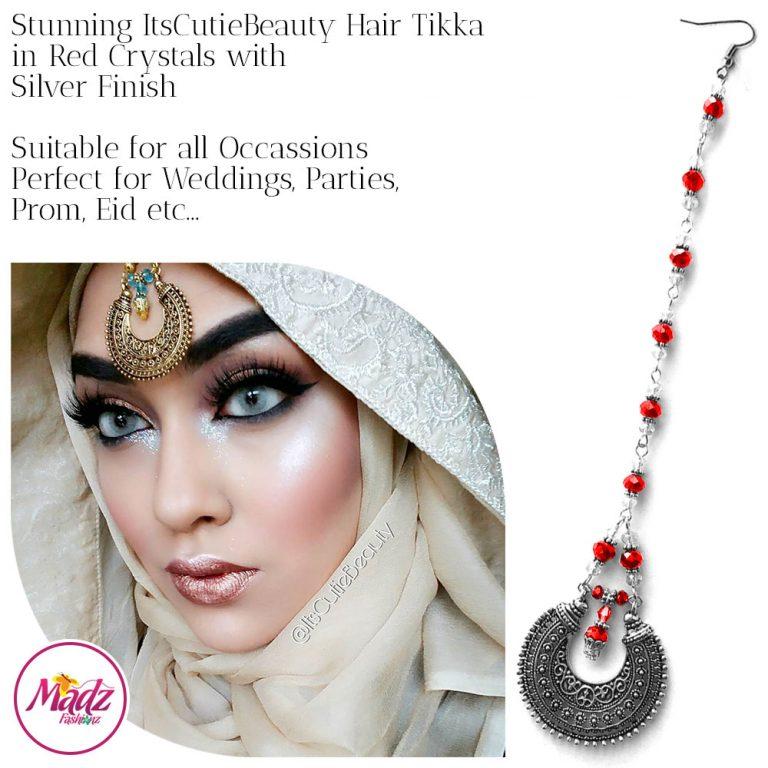 Madz Fashionz UK: ItsCutieBeauty Kundan Tikka Headpiece Headchain Maang Tikka Silver REd