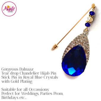 Madz Fashionz UK: Dalnaaz Chandelier Drop Hijab Pin Stick Pin Hijab Jewels Hijab Pins Gold Royal Blue