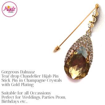Madz Fashionz UK: Dalnaaz Chandelier Drop Hijab Pin Stick Pin Hijab Jewels Hijab Pins Gold Champagne