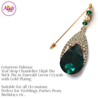 Madz Fashionz UK: Dalnaaz Chandelier Drop Hijab Pin Stick Pin Hijab Jewels Hijab Pins Gold Green