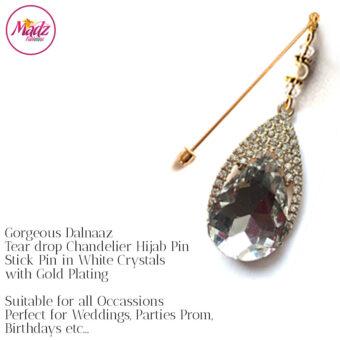 Madz Fashionz UK: Dalnaaz Chandelier Drop Hijab Pin Stick Pin Hijab Jewels Hijab Pins Gold white