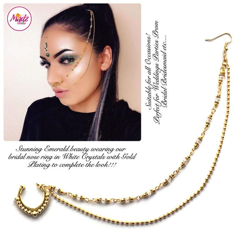 Madz Fashionz UK: Emeraldxbeauty Crystal Bridal Indian Nath Nose Ring Bollywood Indian Gold White