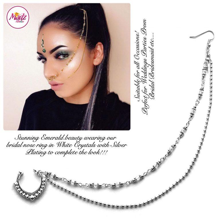 Madz Fashionz UK: Emeraldxbeauty Crystal Bridal Indian Nath Nose Ring Bollywood Indian Silver White