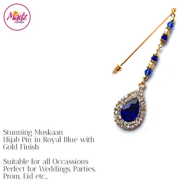 Madz Fashionz UK: Muskaan Chandelier Hijab Pin Stick Pin Hijab Jewels Hijab Pins Gold Royal Blue