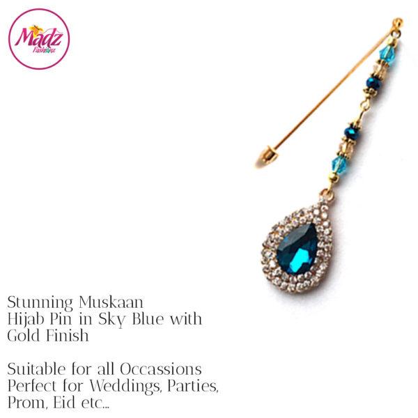 Madz Fashionz UK: Muskaan Chandelier Hijab Pin Stick Pin Hijab Jewels Hijab Pins Gold Sky Blue