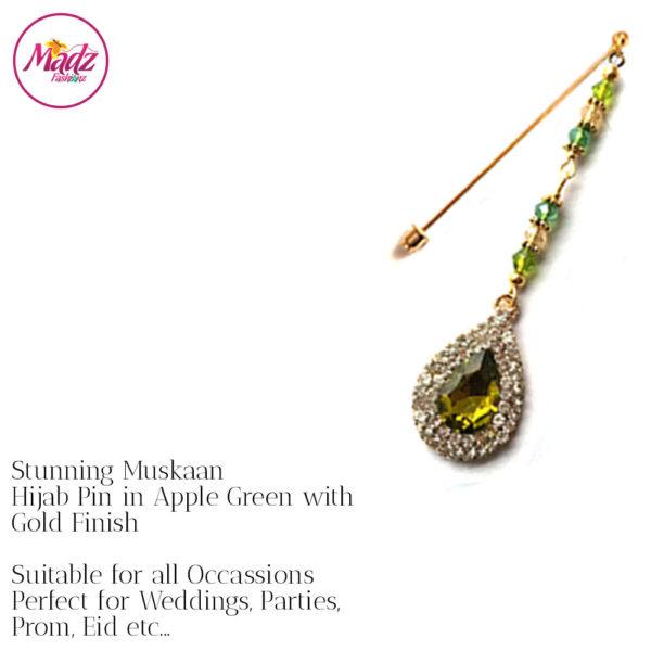 Madz Fashionz UK: Muskaan Chandelier Hijab Pin Stick Pin Hijab Jewels Hijab Pins Gold Green Apple)