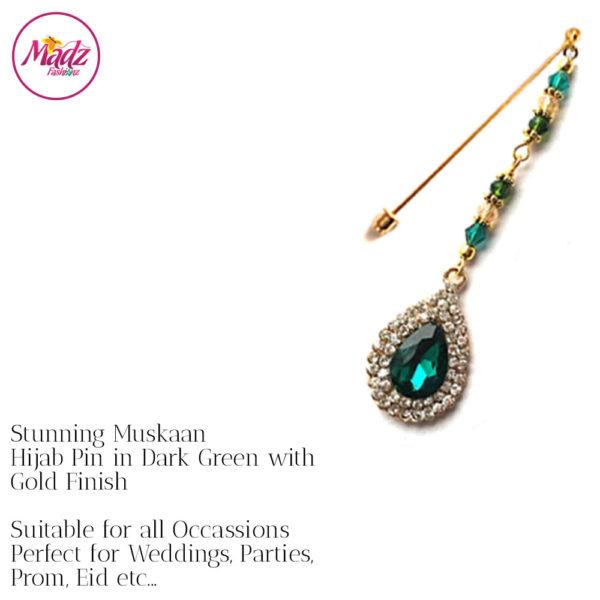 Madz Fashionz UK: Muskaan Chandelier Hijab Pin Stick Pin Hijab Jewels Hijab Pins Gold Green Dark