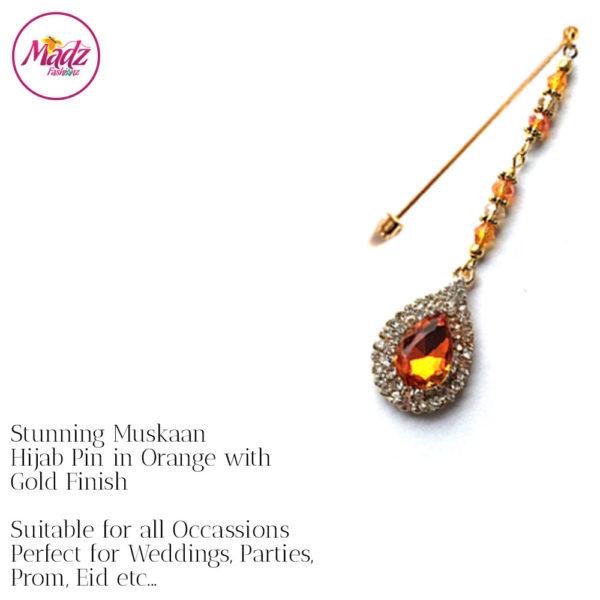 Madz Fashionz UK: Muskaan Chandelier Hijab Pin Stick Pin Hijab Jewels Hijab Pins Gold Orange