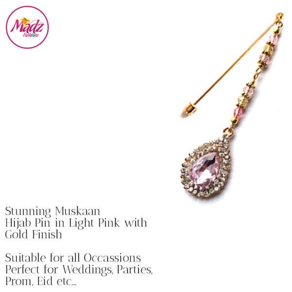 Madz Fashionz UK: Muskaan Chandelier Hijab Pin Stick Pin Hijab Jewels Hijab Pins Gold Light Pink
