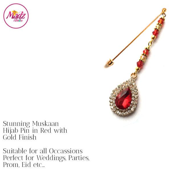 Madz Fashionz UK: Muskaan Chandelier Hijab Pin Stick Pin Hijab Jewels Hijab Pins Gold Red