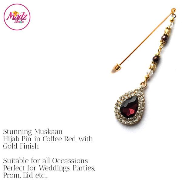 Madz Fashionz UK: Muskaan Chandelier Hijab Pin Stick Pin Hijab Jewels Hijab Pins Gold Coffee Red